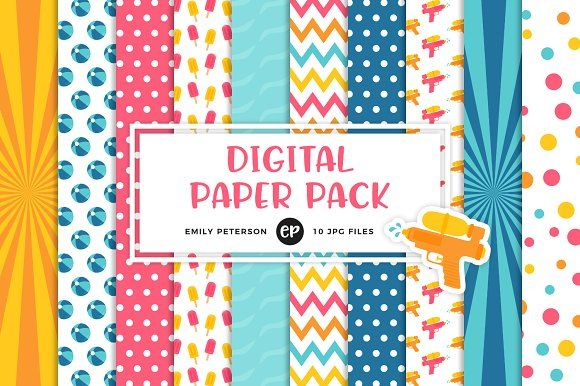 Pool Party Digital Papers by Emily Peterson Studio on @creativemarket Perfect for product design, gift wrapping, crafts, room decor, invitations, greeting cards, tags, labels and so much more. **Affiliate Link**