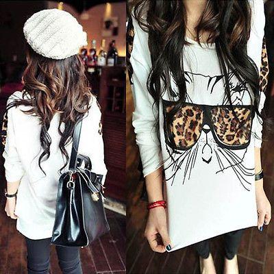 Fashion Korean Leopard Bespectacled Cat Kitty Long Sleeve TEE Shirt TOPS WHITE
