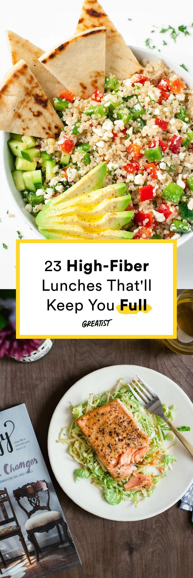 There's no need to mindlessly snack all afternoon. #high #fiber #recipes https://greatist.com/eat/high-fiber-lunches-that-keep-you-full-til-dinner