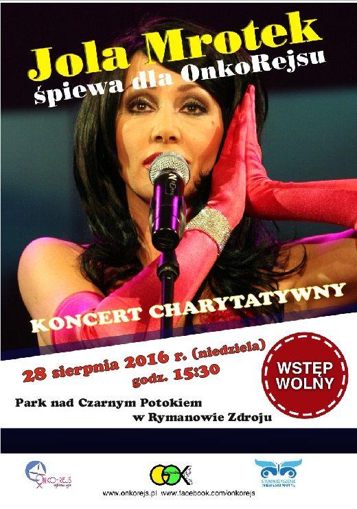 w dniu 28 sierpnia 2016 r. (niedziela) w Parku nad Czarnym Potokiem w Rymanowie-Zdroju odbędzie się koncert Joli Mrotek, koncert rozpoczęcie się o godz. 15:30