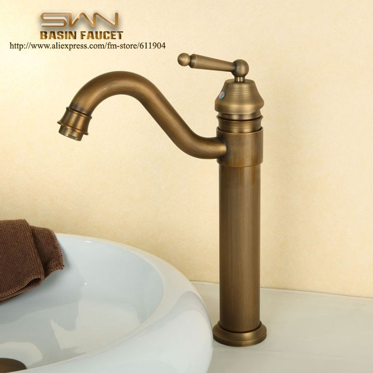 (42.75$)  Know more - http://aich8.worlditems.win/all/product.php?id=1569823362 - Antique Brass Bathroom Faucet Lavatory Vessel Sink Basin faucets Mixer Tap Swivel Spout Cold Hot Water taps Single Handle