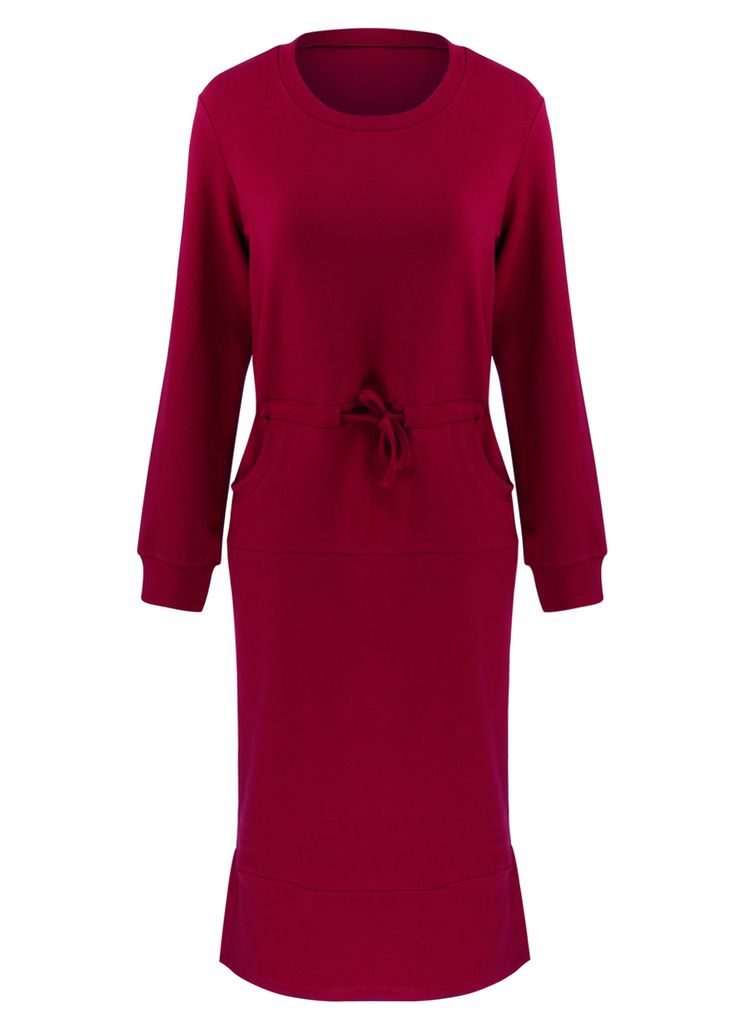 Long Sleeve Casual Belted Midi Dress With Pockets_Midi Dress_Dresses_Sexy Lingeire | Cheap Plus Size Lingerie At Wholesale Price | Feelovely.com