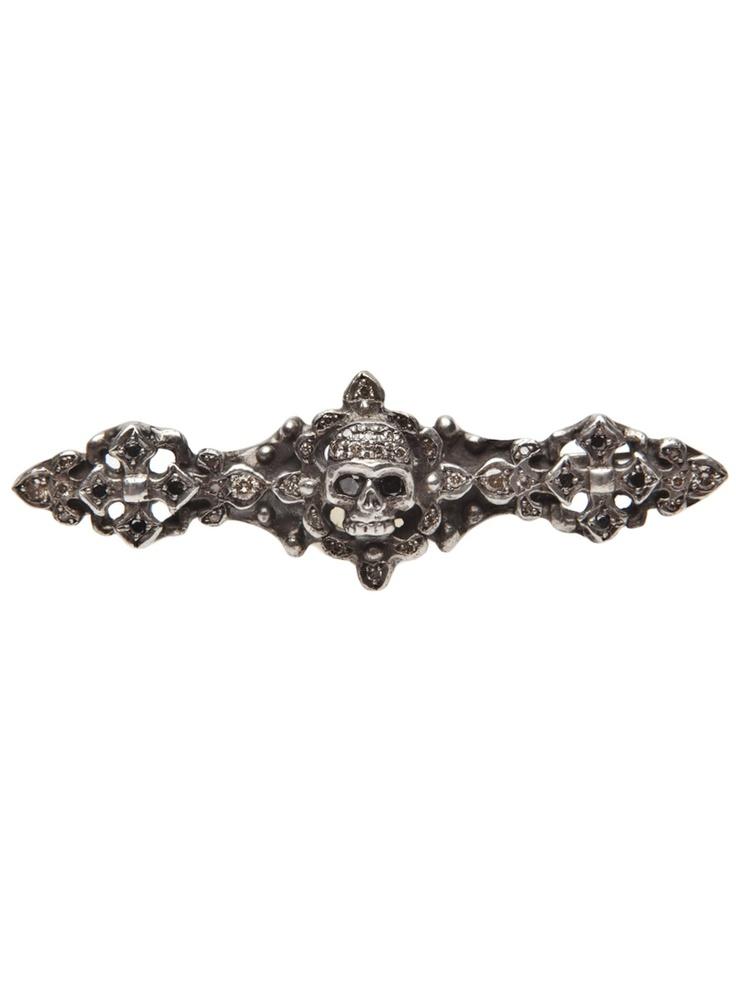 Roman Paul diamond skull pin