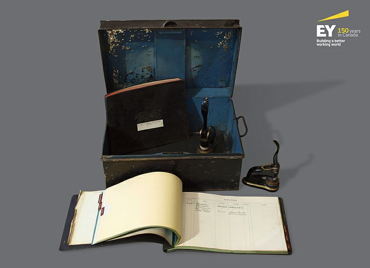 The ordering box that accountants would use to carry around documents. It contained the official firm stamp that auditors must use to stamp all documents to indicate that the firm is taking responsibility for the statements by the auditor. #EYCan150
