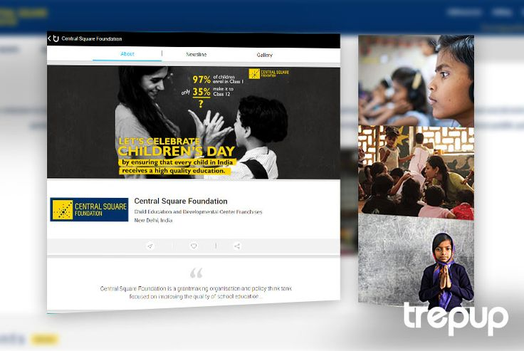 Teachers build nations. Central Square Foundation envisions to educate all children in India regardless of their social or economic status. Check out this dedicated organization on Trepup! http://trepup.co/25Q5FwU