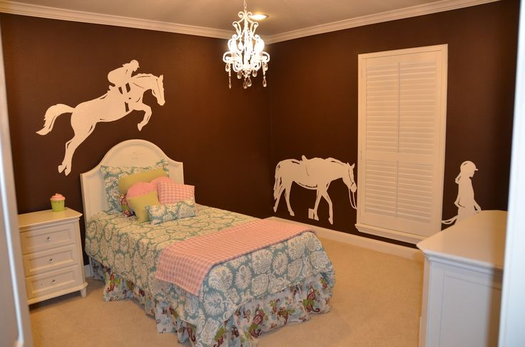 brown walls in a girls horse room