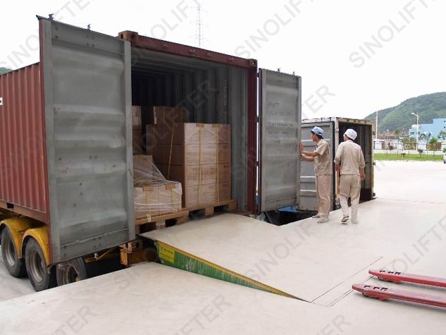 container loading ramp used between container and forklift. Applicable in port, station, logistic area. Load ranges from 5t to 15t. (http://www.sinolifter.com/dock-ramp/stationary-dock-ramp.html) Skype: mf.sinicmech.com Email: mf@sinicmech.com