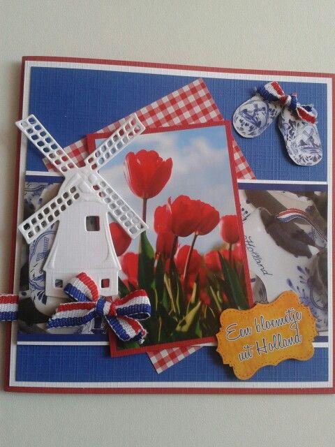 Hollandse kaart met molen van marianne design mal en rood wit blauw lint...
