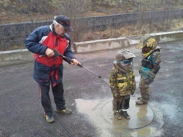 Hold on, gotta powerwash the grandkids...lol that's great I have hosed the mud off my kids before!