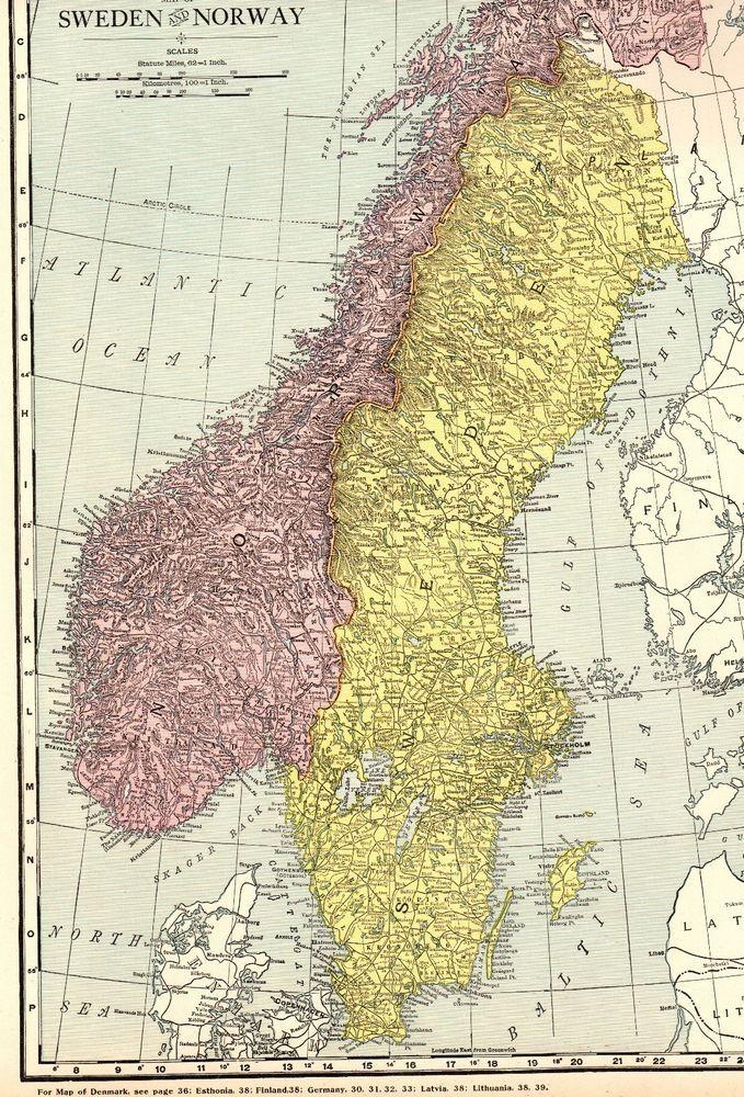 1920 Antique SWEDEN & NORWAY Map Vintage Collectible Atlas ...