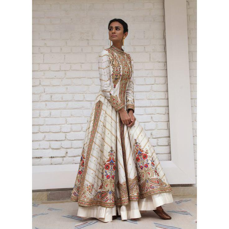 Ivory Chanderi silk sherwani anarkali w delicate resham-tilla embroidery gold floral work; w soft tulle dupatta- rimple harpreet narula