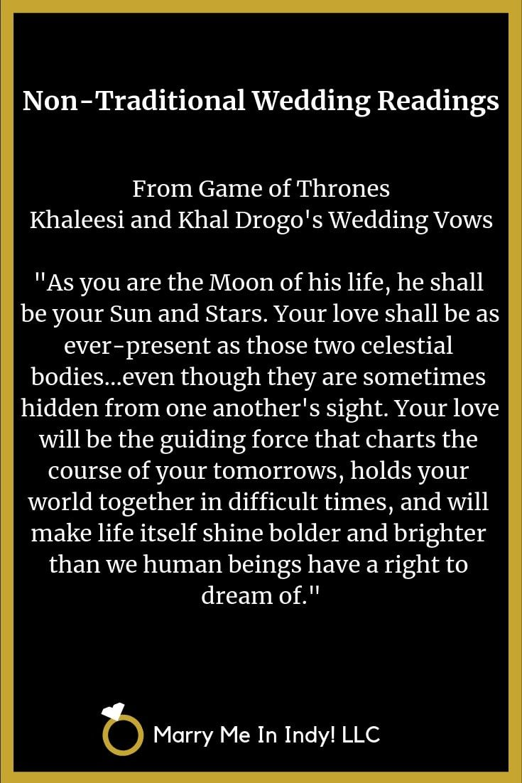Non Traditional Wedding Ceremony Reading From The Game Of Thrones Nontraditional Wedding Wedding Ceremony Traditions Wedding Ceremony Readings