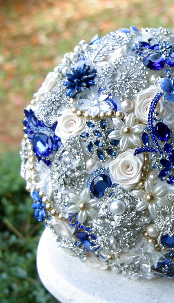Royal Blue and Gold Wedding Brooch Bouquet. by annasinclair