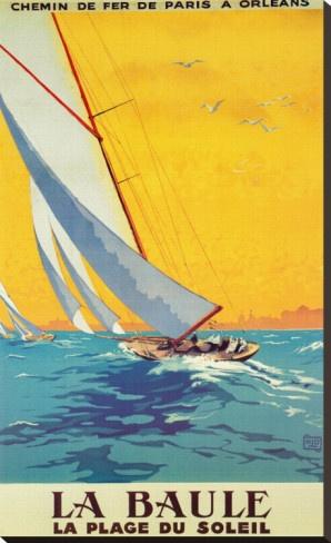 Vintage Travel Poster  - La Baule - La Plage du Soleil - France.