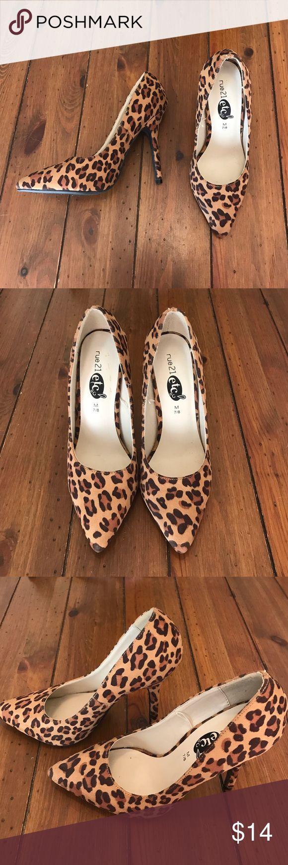 "Rue 21 Leopard Heels Black and Tan Rue 21 4"" Heels Rue 21 Shoes Heels"