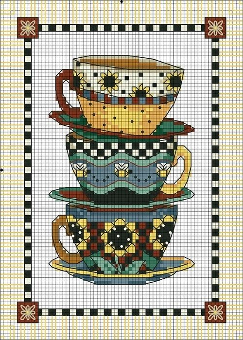 Tea Cups cross stitch #free #pattern