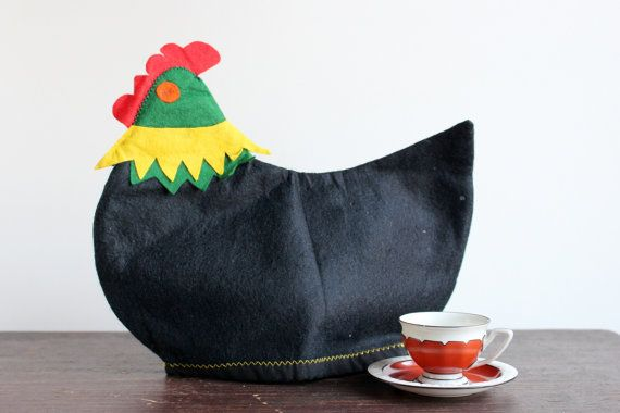 Vintage Felt Tea Pot Warmer, Swedish Coffee Pot Cozy, Black Rooster, Scandinavian Teapot Cover, Handmade, Easter Decor by LittleRetronome