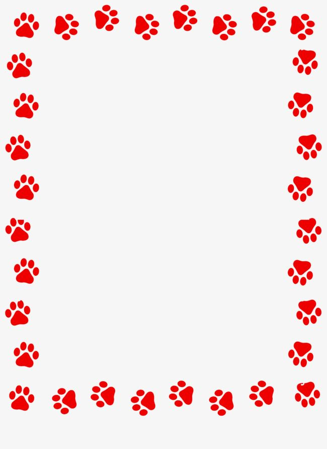 Red Dog Paw Prints Border Red Dogs Dog Clipart Paw Png
