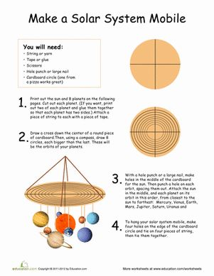 Second Grade Earth & Space Science Paper Projects Worksheets: Solar System Mobile