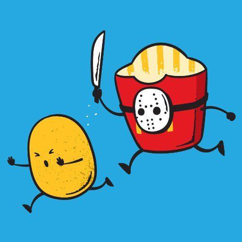 """""""French Fried Jason"""" Funny Horror Film Parody - Vinyl Sticker - http://weirdthingstobuy.net/french-fried-jason-funny-horror-film-parody-vinyl-sticker"""