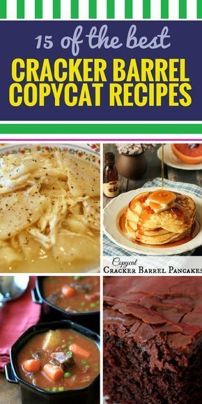 15 Copycat Cracker Barrel Recipes. No restaurant is better at down-home cooking than Cracker Barrel, and now you can cook their recipes at home. From chicken casserole, to classic desserts like pie and baked apple, down to their famous biscuits, enjoy Cracker Barrel's home cooking at home.