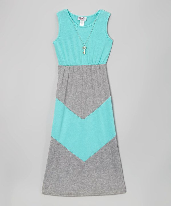 Look at this Mint Chevron Dress & Necklace - Girls on #zulily today!