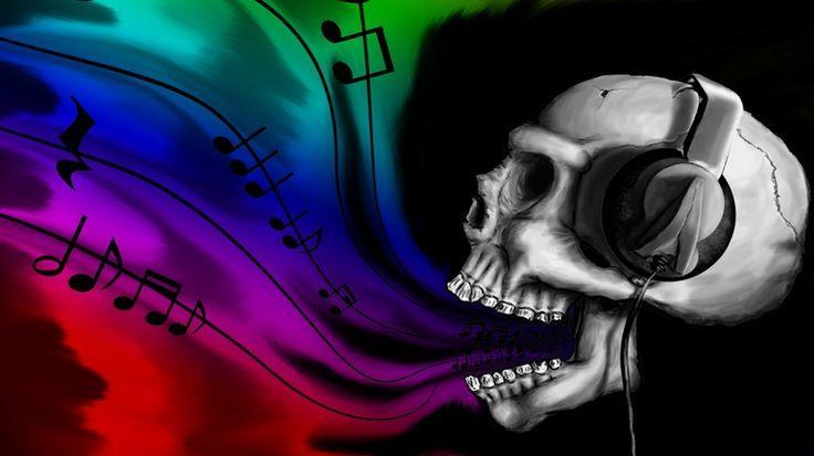 Skeleton with Headphones | headphones skulls music 1366x768 wallpaper Entertainment Music HD: