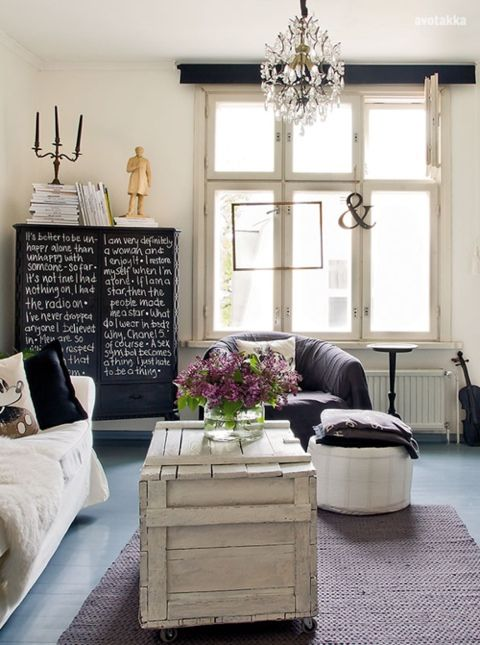 Love.: Cabinets, Coffee Tables, Idea, Living Rooms, Shabby Chic, Chalkboards Paintings, Memorial Tables, White Interiors, Rental Decor