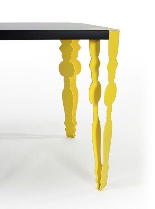 Amazing yellow steel table legs.