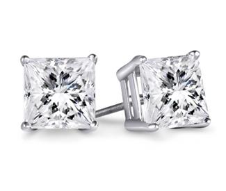 Classic princess diamond stud earrings