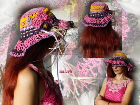 Crocheted summer hat romantic women fashion holidays