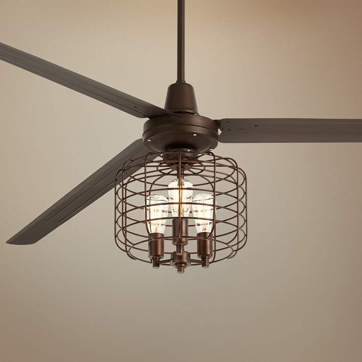 72 Turbina Xl Dc Bronze Industrial Cage Led Ceiling Fan 64v11 Lamps Plus Bronze Ceiling Fan Ceiling Fan Ceiling Fan With Light