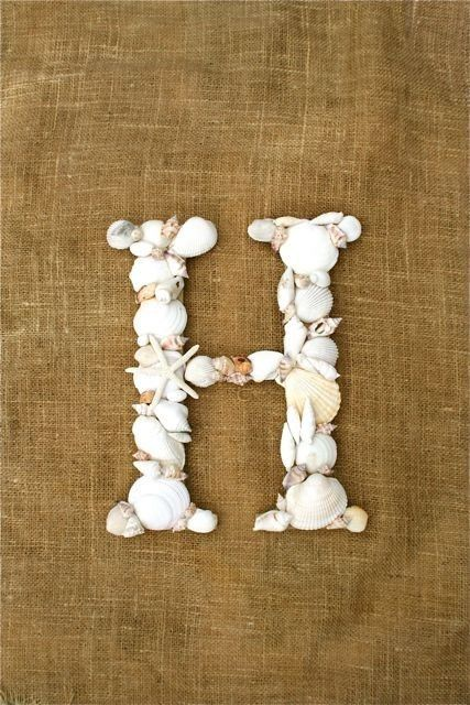 Seashell letter monogram. Mom, cute project to do with all your shells from Sanibel.