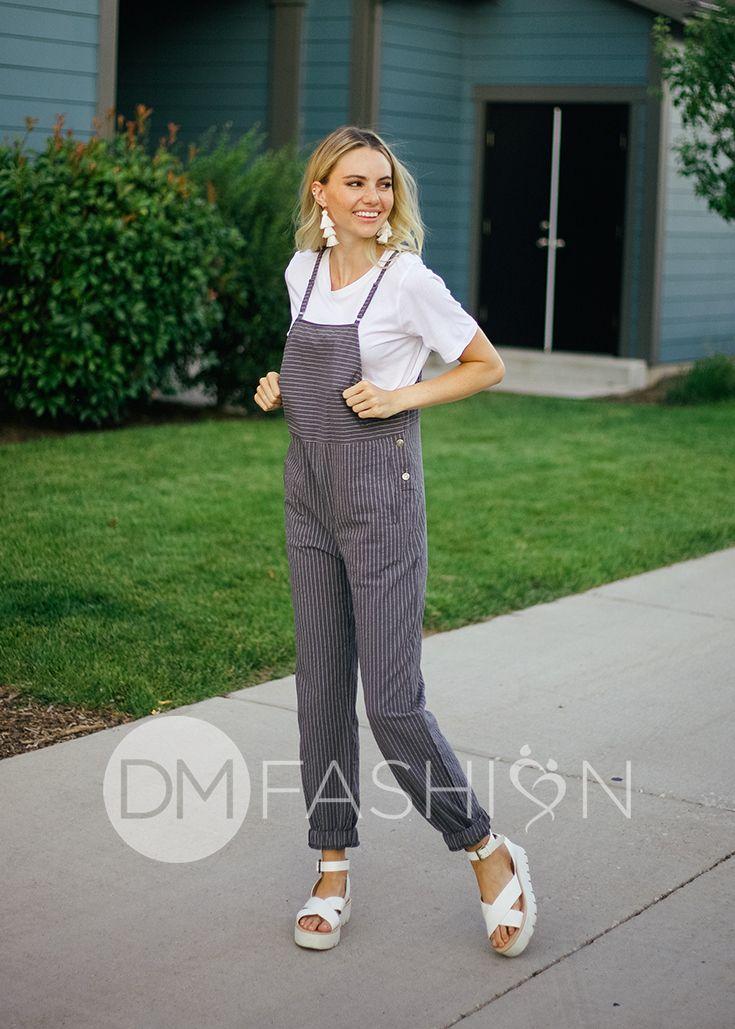 ca02f065243 Sienna Grey Pinstripe Jumpsuit in 2019