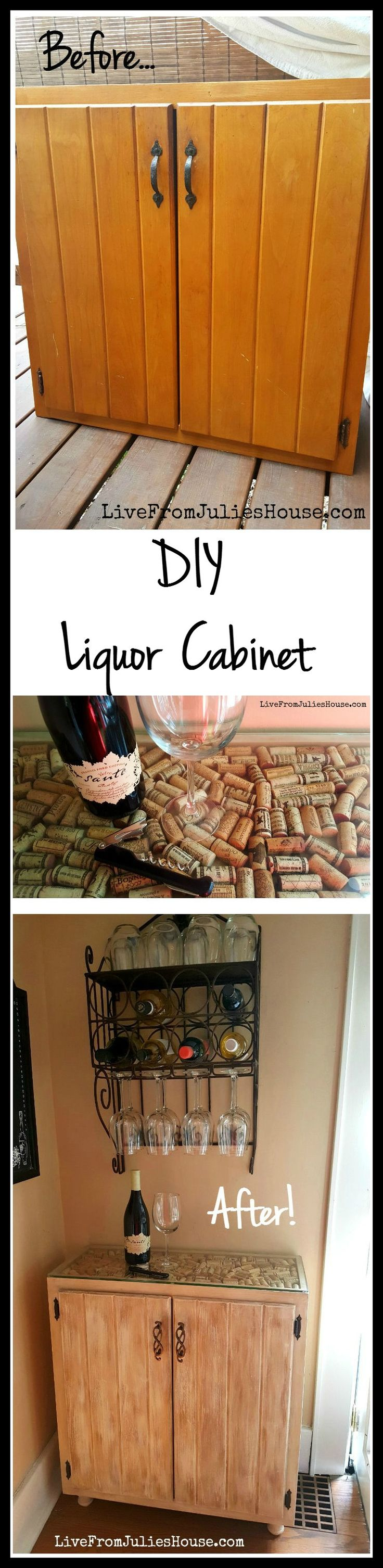 Diy kitchen cabinets gauteng - Diy Liquor Cabinet I Created A Budget Friendly Diy Liquor Cabinet Out Of A Sad Looking Kitchen Cabinet With The Addition Of Some Paint Wine Corks And New