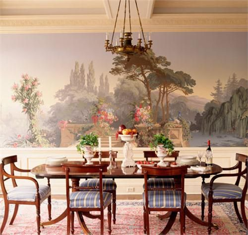 131 best images about formal traditional dining on for Dining room mural wallpaper