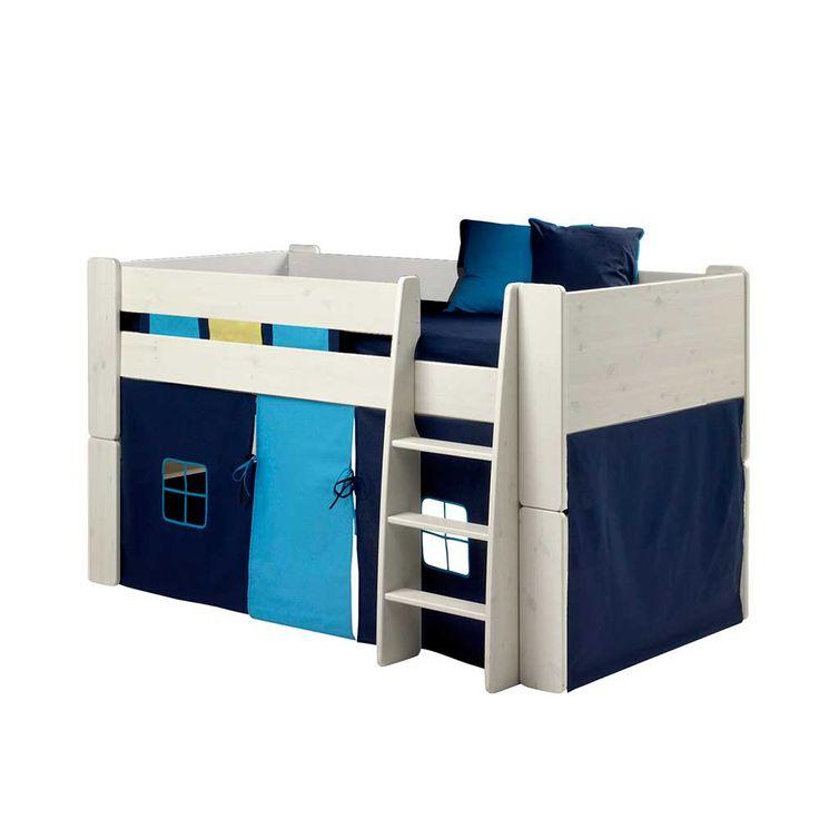 Elegant Halbhohes Kinderbett in Vorhang in Blau Wei teilig Jetzt bestellen unter https moebel ladendirekt de kinderzimmer betten kinderbetten uid uddeda