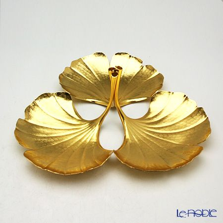 [traditional craft] swallow hammered copperware  (pure copper) ginkgo three small plates piled gold