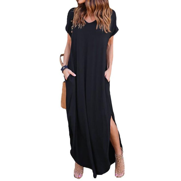 2017 Summer Womens Fashion V Neck Short Sleeve Side Split Casual Pockets Losse Kaftan Long Maxi Dress Vestido Sundress