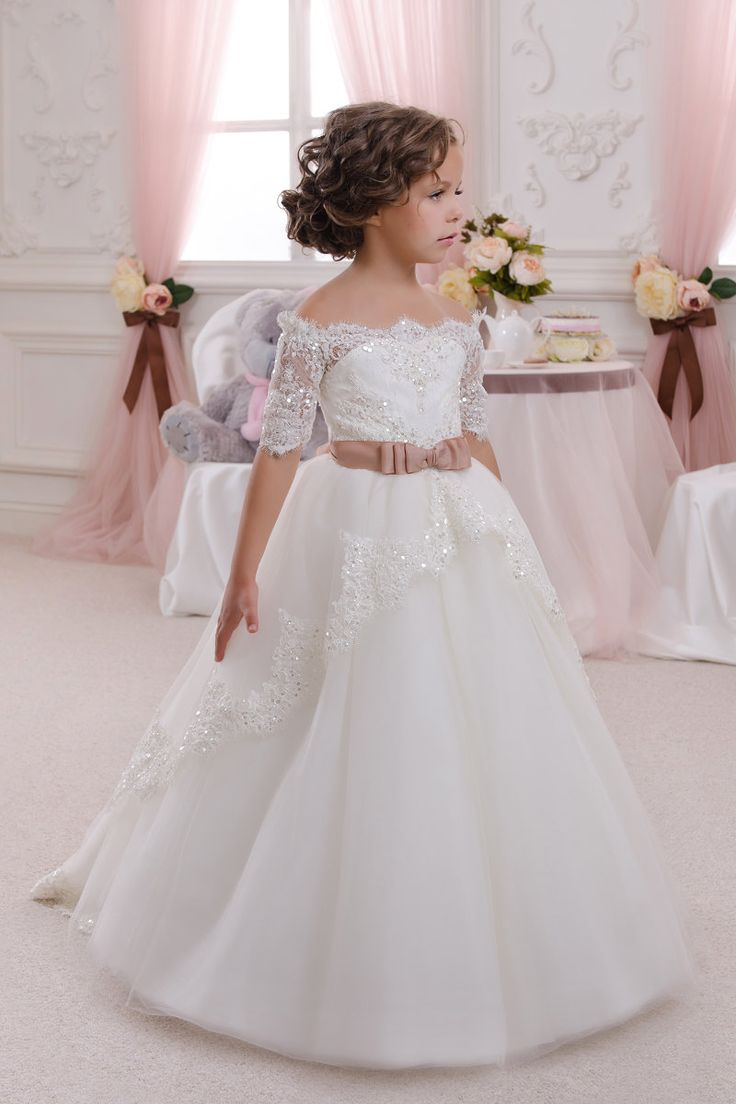 $58-New Lovely White Ivory Beaded Lace Flower Girls Dresses For Weddings With Belt 2016 Tulle Ball Gown Holy Communion Dresses