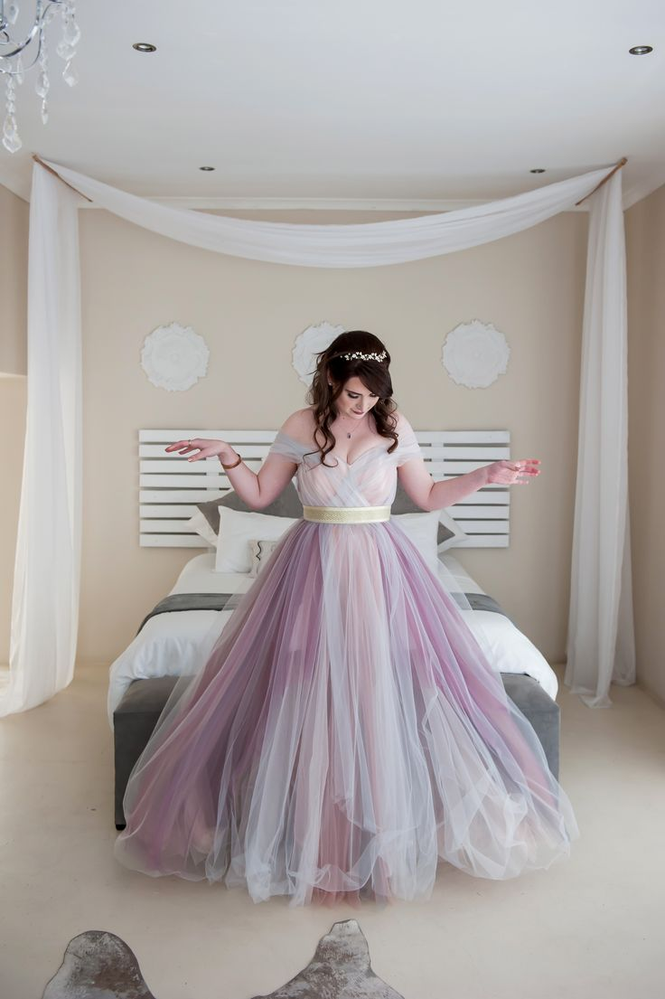 Fairytale multicolor dress by Roxanne May Martin  wedding dress, purple, pink, grey, gold, tulle
