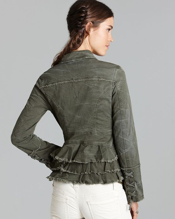 NWT Free People Womens Moss Army Green Blazer Military Ruffle ...