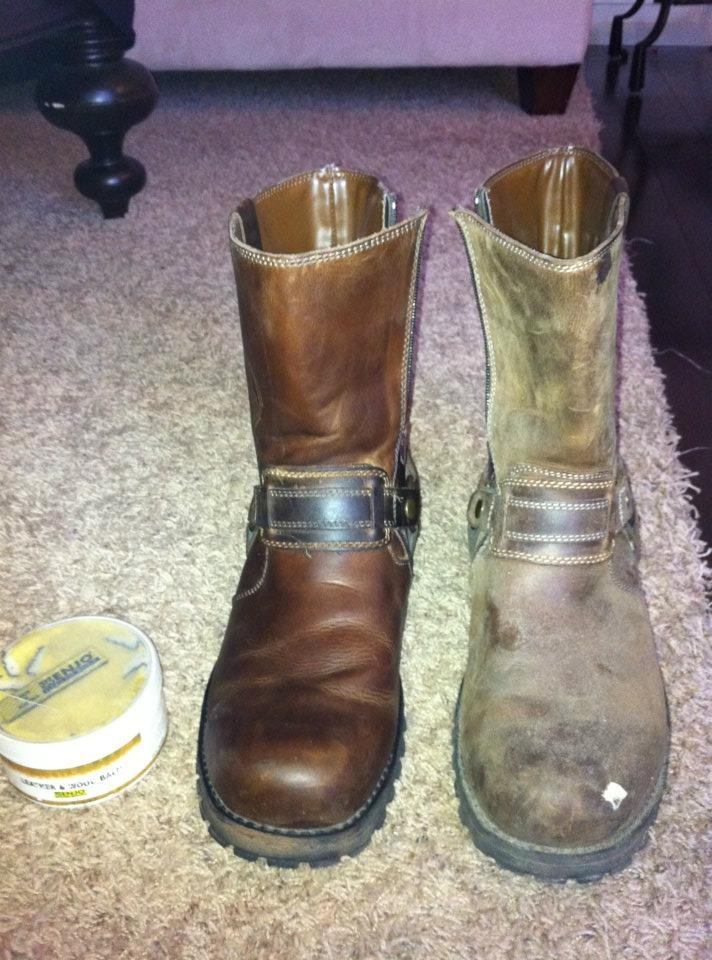 Leather Boots - Restored to their original colour with ENJO Leather & Wood Balm!  Clean & polish in one step!