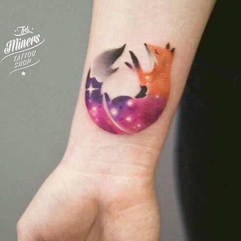 Space fox watercolor  tatoo