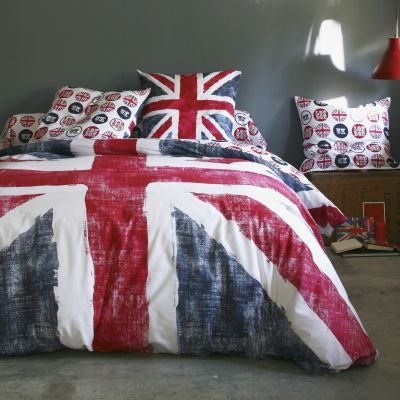 Housse couette coton drapeau anglais bleu et rouge OLD FLAG - Bleu / rouge- Vue 1