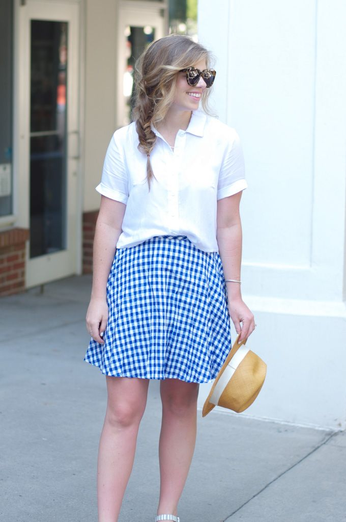 Louella Reese - Brunch Outfit Inspiration with J.Crew Gingham Skirt, Panama Hat, & Stripes Flatforms