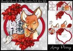 Beautiful Mum   Baby Reindeer 8x8 Mini Kit on Craftsuprint - View Now!