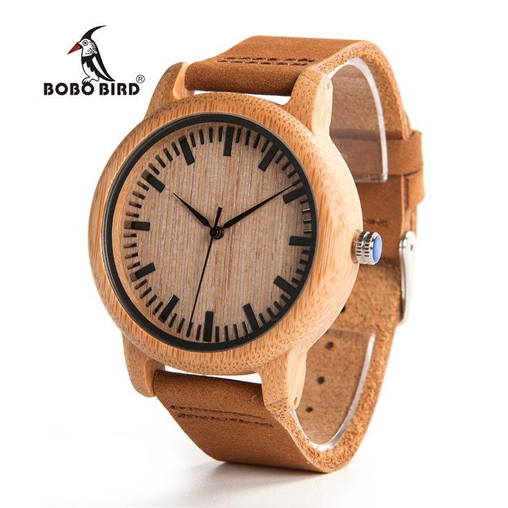 Бобо птица V-A16 модные Для мужчин деревянные кварцевые часы Высокое качество бамбука наручные часы с коричневый кожаный ремешок erkek коль saati