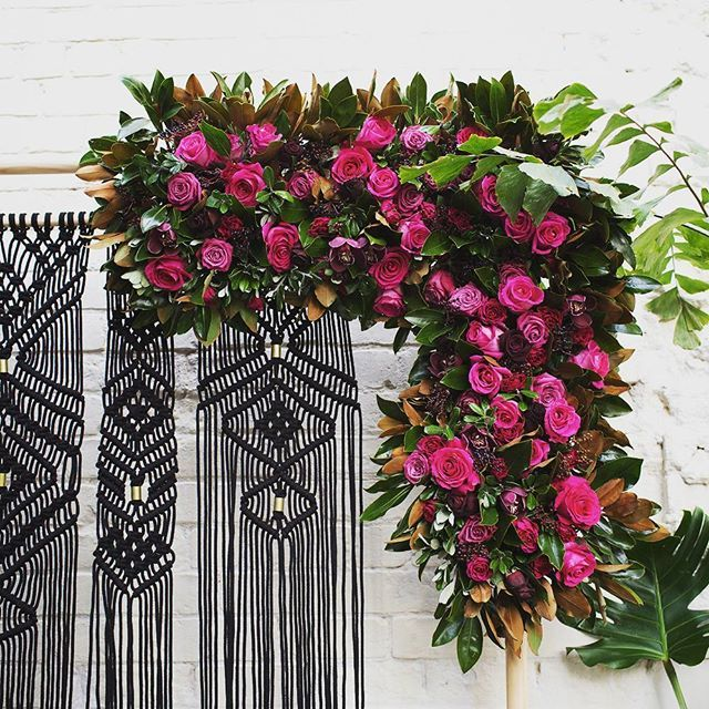 Sneak peek of the pretty styling from Sonya and Jamie's magical day on Sunday. Amazing macrame hanger by @spoonfuldesign @onelovelydaystyling @twigandtwine.nz #ostro #weddingflowers #aucklandwedding #macramehanger @jodylidstone