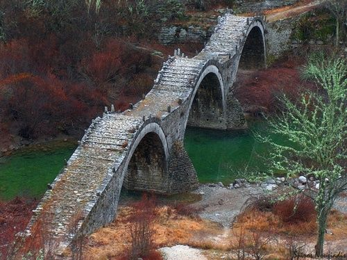 Ancient, Three Arches Bridge, Zagorochoria, Greece